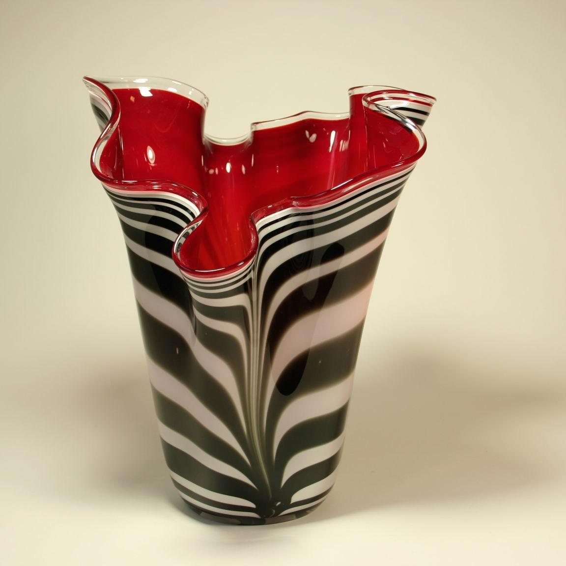 Loranto glas vaas 'rood met zebra'