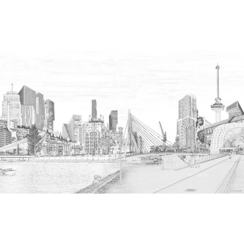 QphotoArt digital photoline Art 'Rotterdam Riverside'