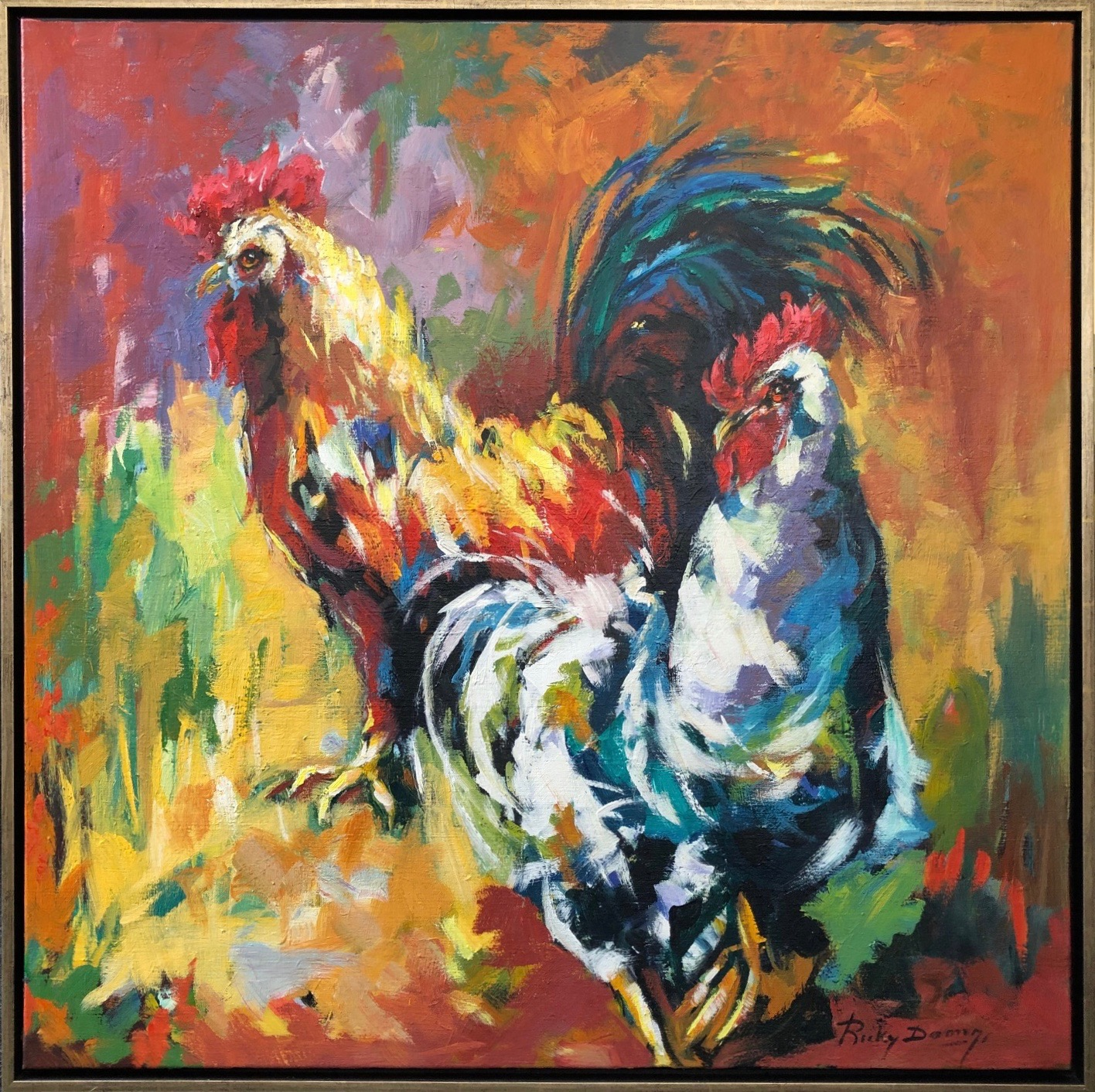 Ricky Damen schilderij 'Chicken and Rooster'