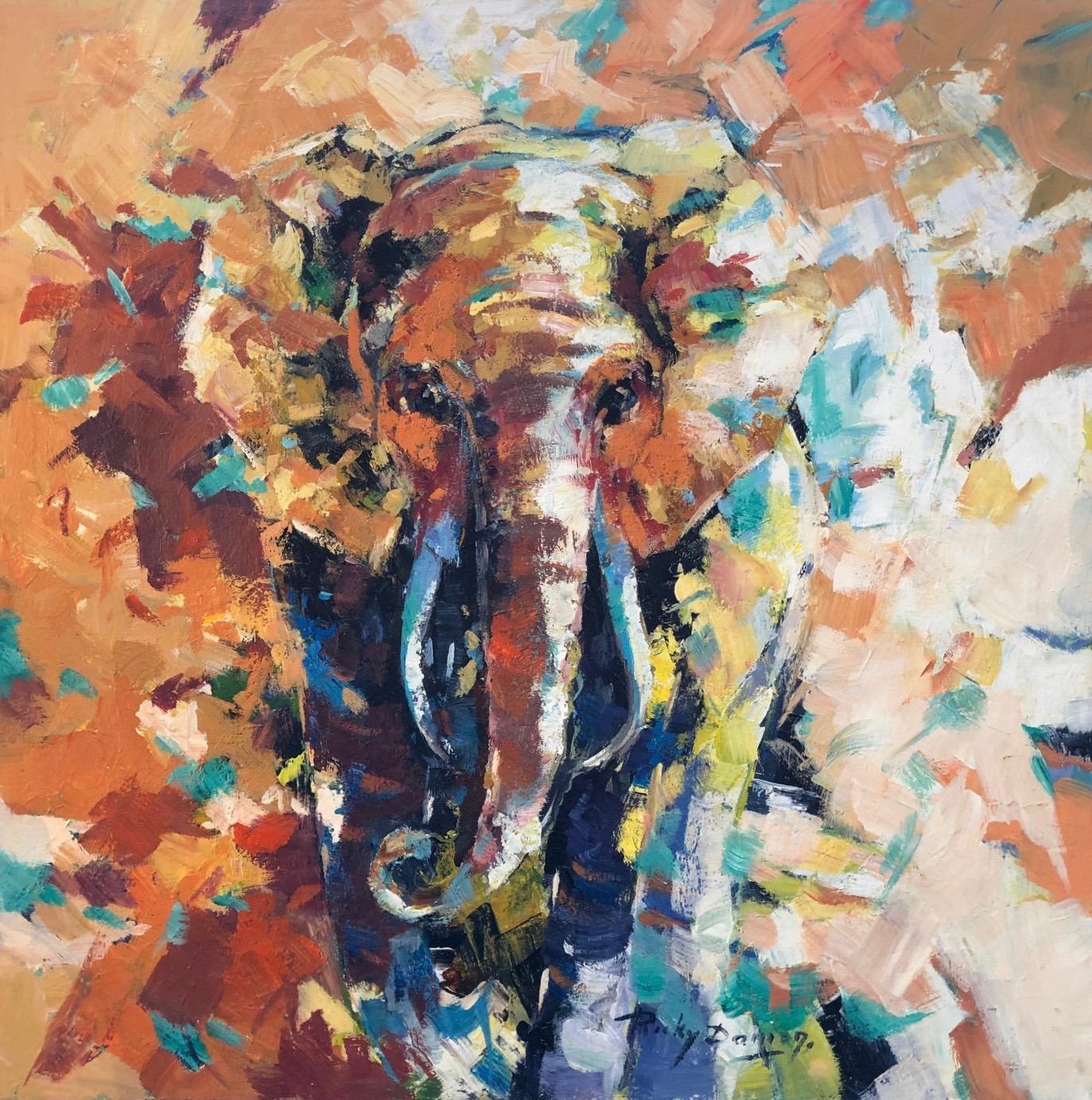 Ricky Damen schilderij 'Olifant