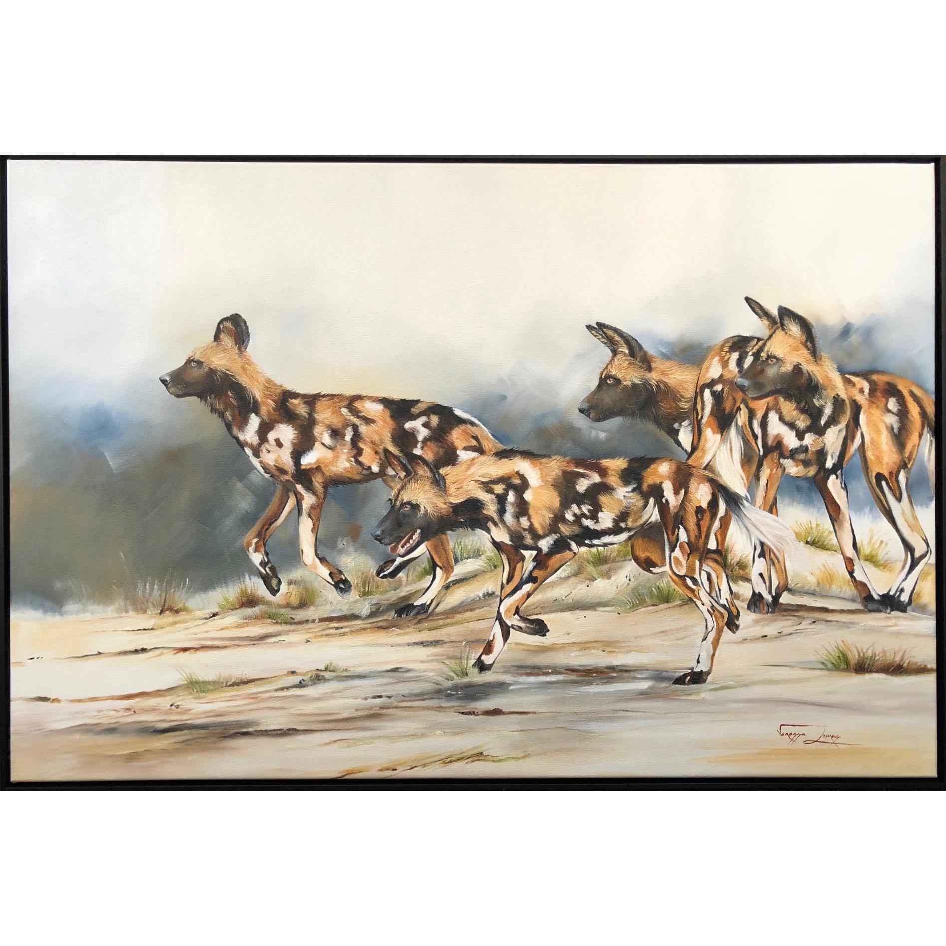 Vanessa Lomas schilderij 'Let the hunt begin'