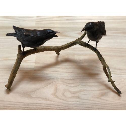Rob Nagtzaam bronzen beeld 'Merels op tak'