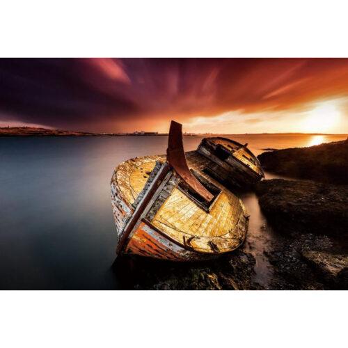 Glas schilderij 'Boot op het droge'