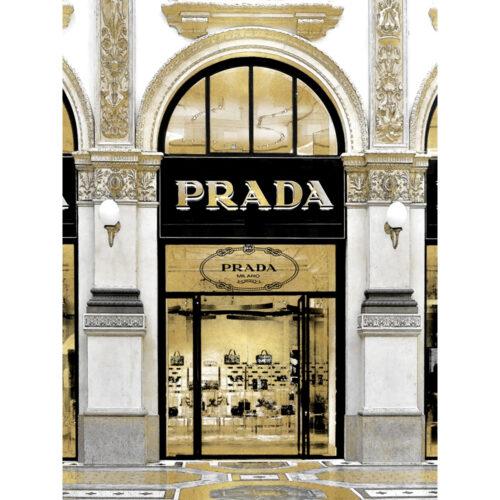 Glas schilderij 'Exclusive shop in Milan'