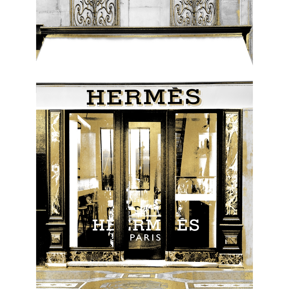 Glas schilderij 'Exclusive shop in Paris'