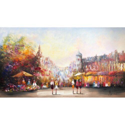 Henry Brand schilderij 'Bloemenmarkt'