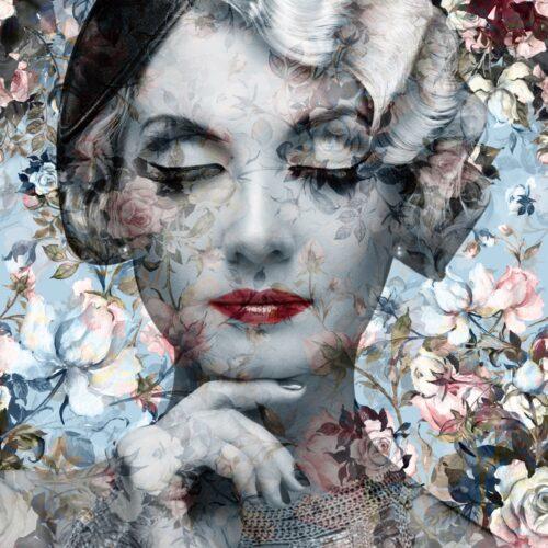 Glas schilderij 'Lady with flowers'
