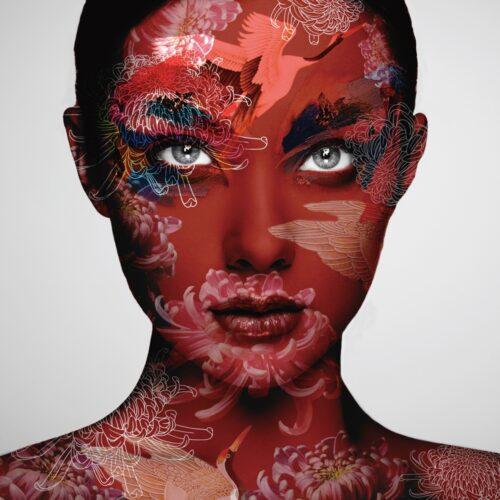 Glas schilderij 'Lady with red pattern'