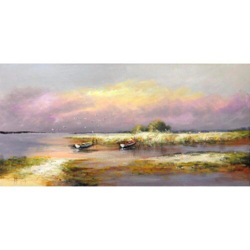 D. Dumont schilderij 'Bootjes aan de kust'