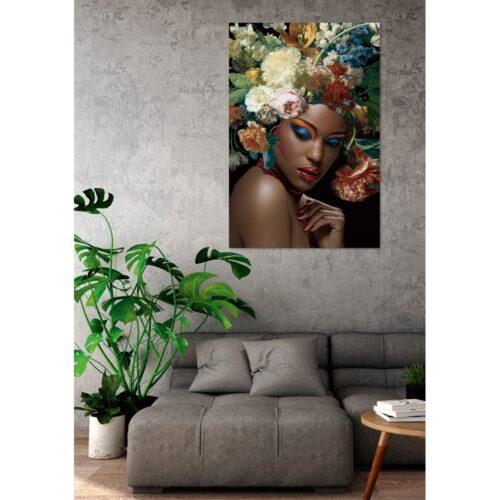 Glas schilderij 'Beauty with flowers'