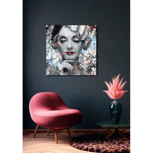 Glas schilderij 'Lady with flowers'