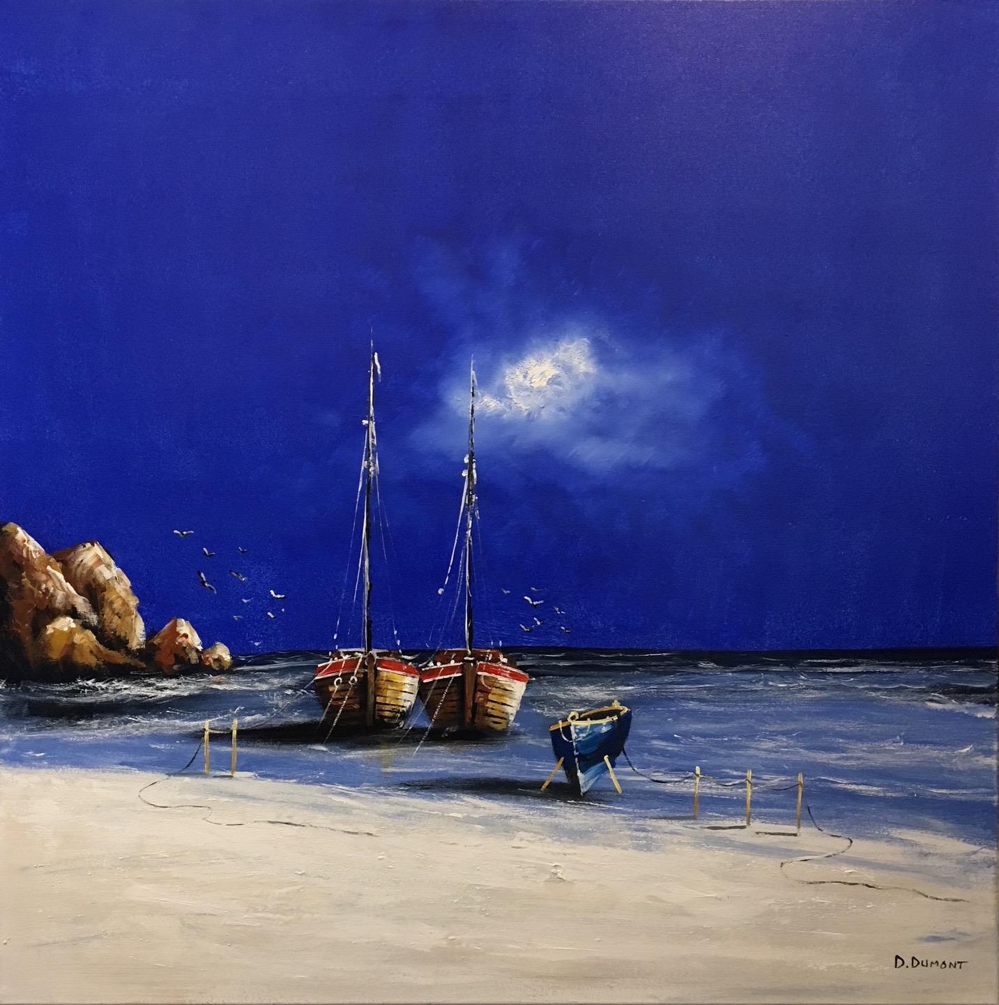 D. Dumont schilderij 'Zee bij nacht'