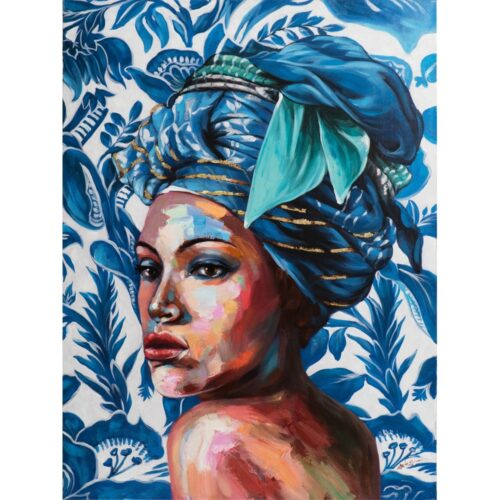 Schilderij 'Beauty with blue turban'