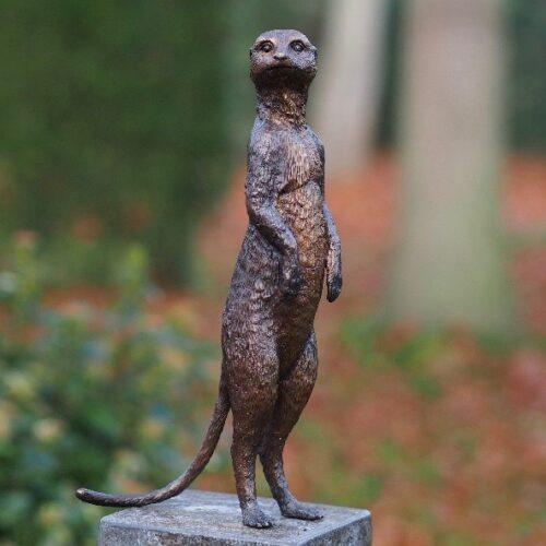 Bronzen beeld stokstaart 'Staand'