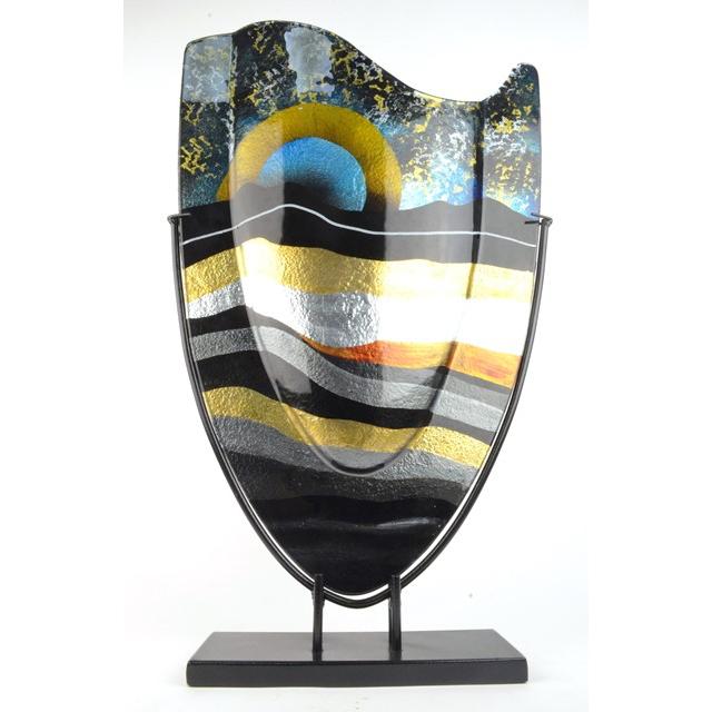 Design Glas Handbeschilderd 'Vaas hoog, Sunrise'