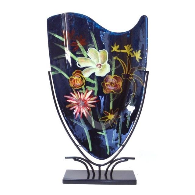 Design Glas Handbeschilderd vaas 'Flowers'