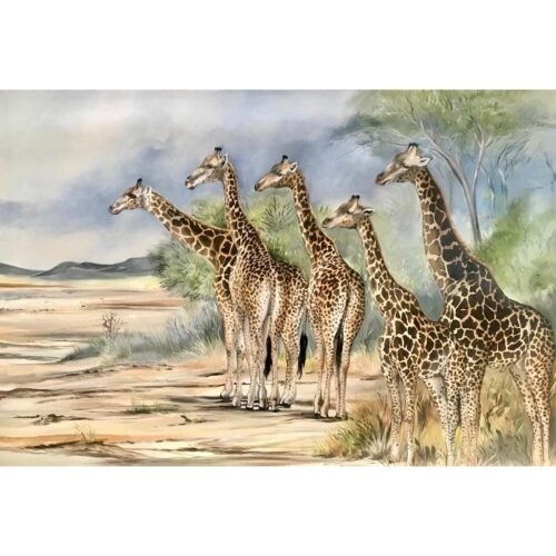 Vanessa Lomas schilderij 'Giraffe Curiosity'