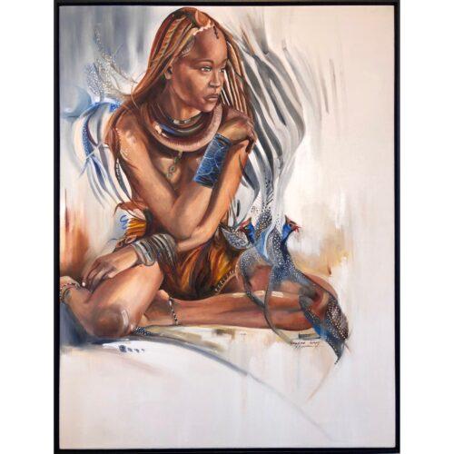 Vanessa Lomas schilderij 'Himba Imaginations'