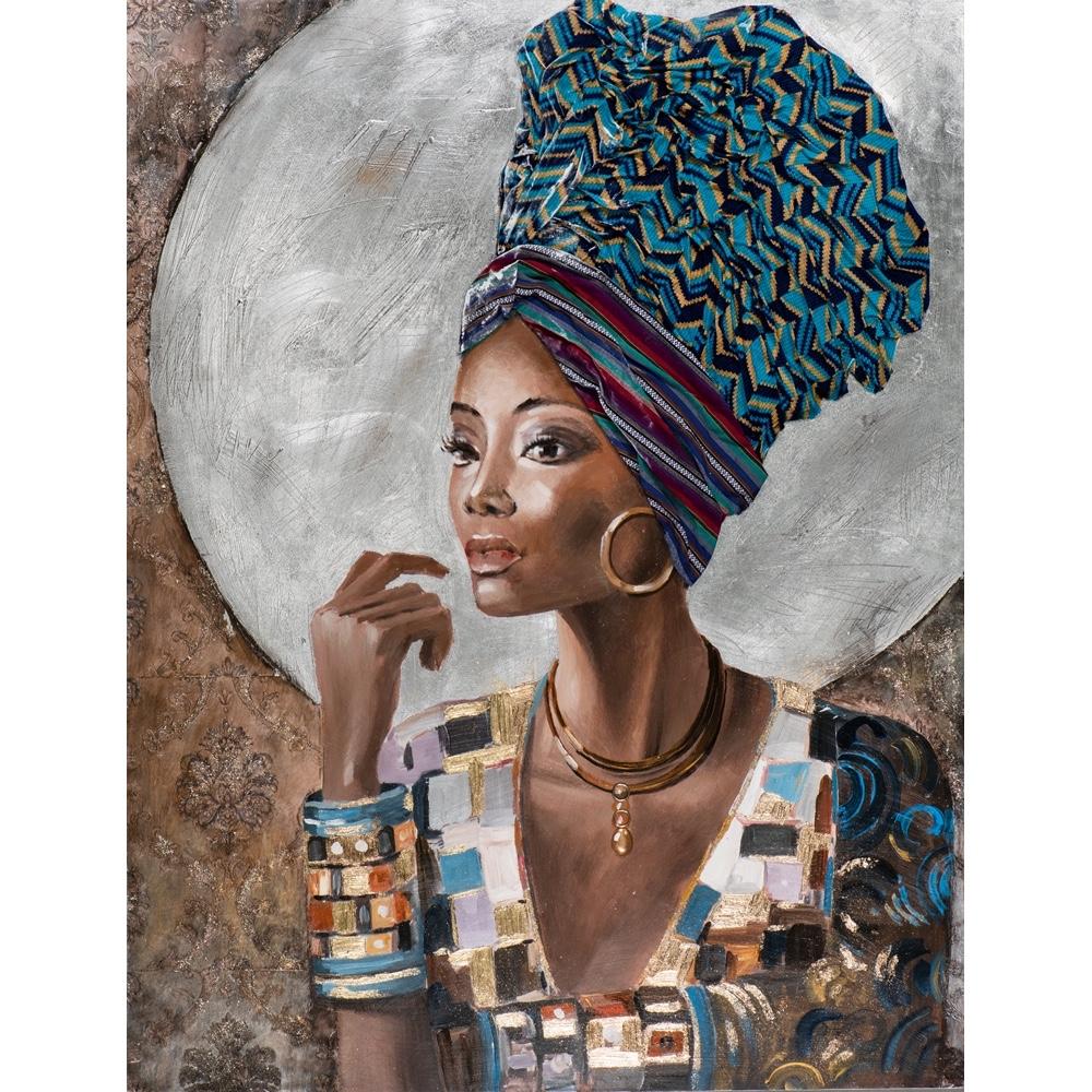 Deco schilderij 'Vrouw met hoofddoek II'