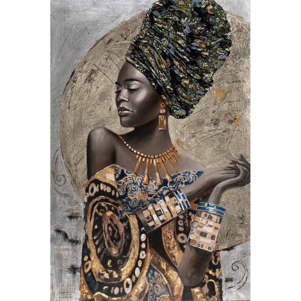 Deco schilderij 'Vrouw met hoofddoek'