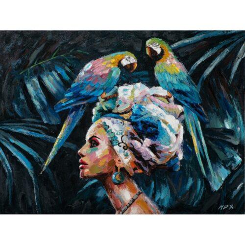 Schilderij 'Vrouw met papegaaien'