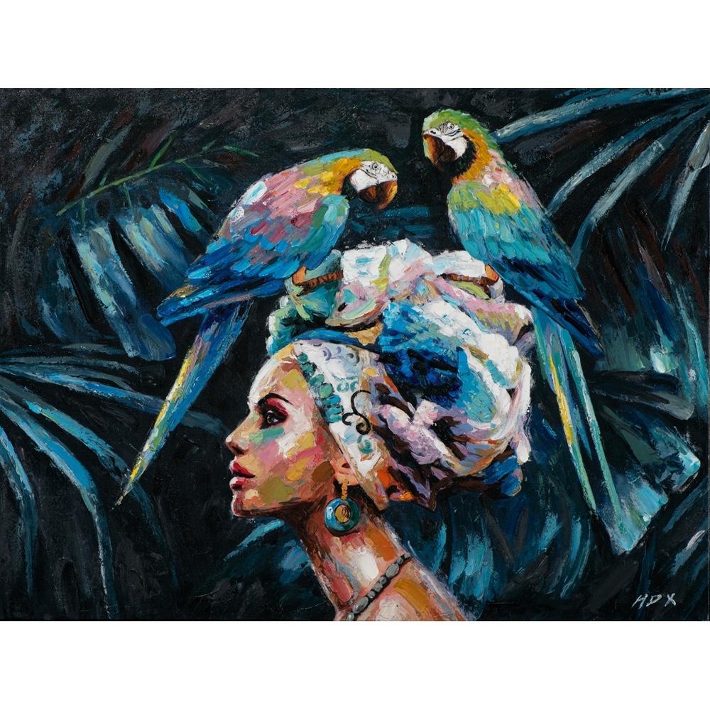 Deco schilderij 'Vrouw met papegaaien'