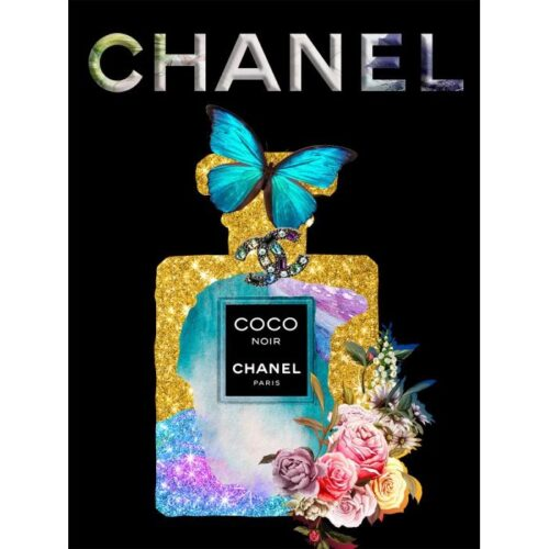 Foto op glas 'Chanel with butterfly'