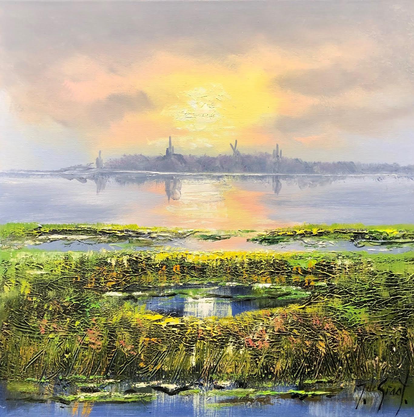 Jochem de Graaf schilderij 'Polderlandschap'