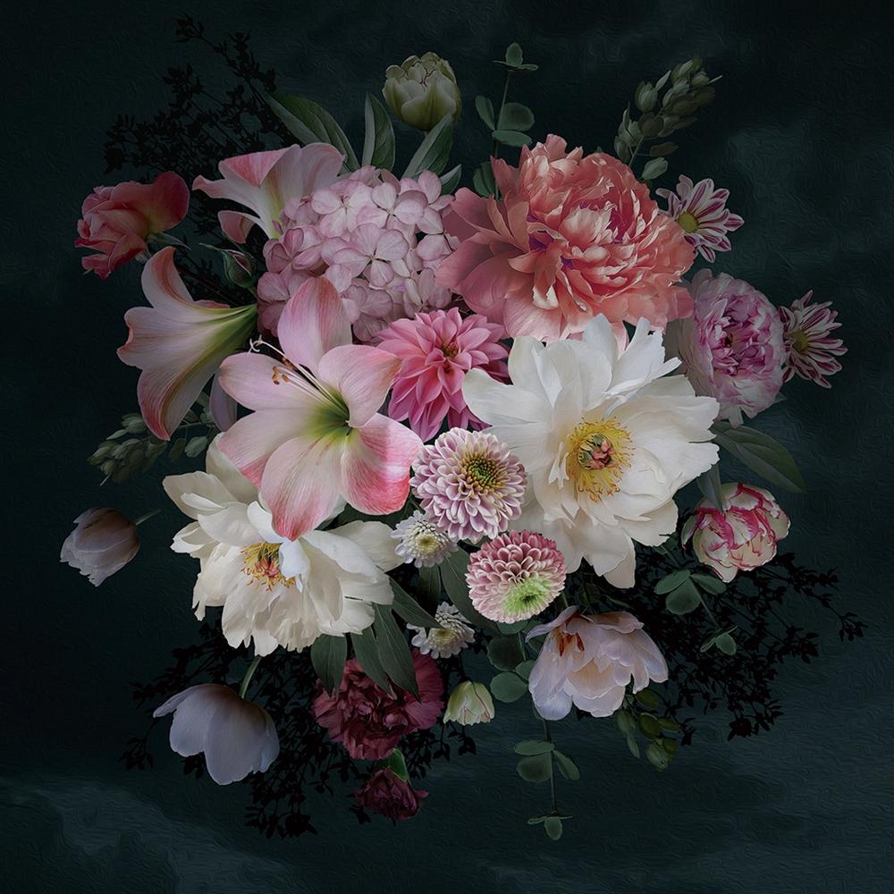 Foto op glas 'Bloemen boeket III'