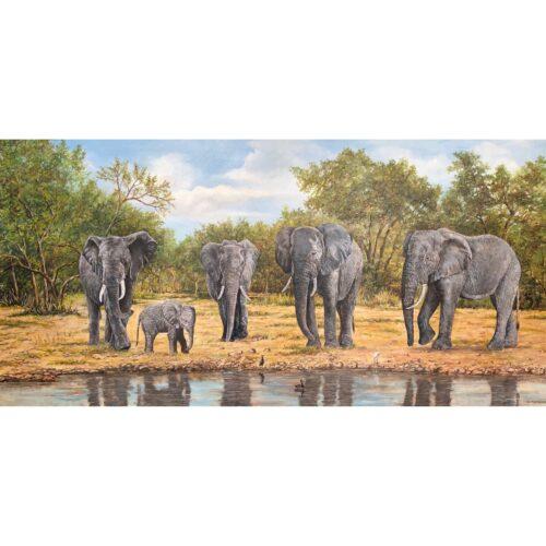 Ad Machielsen schilderij 'Olifanten drinkplaats'